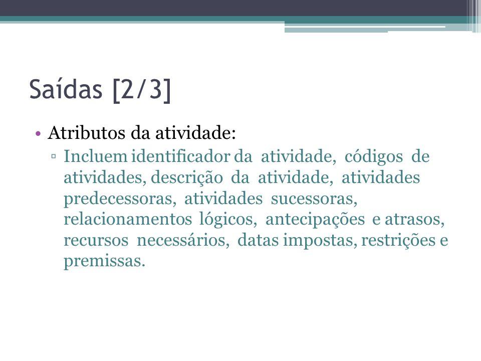 Saídas [2/3] Atributos da atividade: